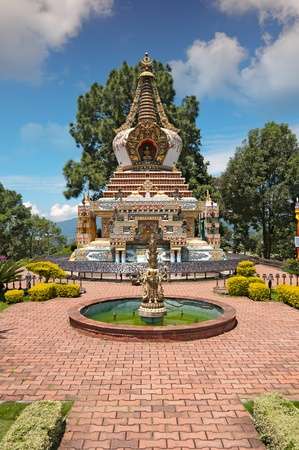 Kopan Monastery temple garden and fountain view in Kathmandu Imagens