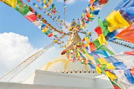 Colorful holy flags on Boudhanath temple stupa Kathmandu Nepal photo