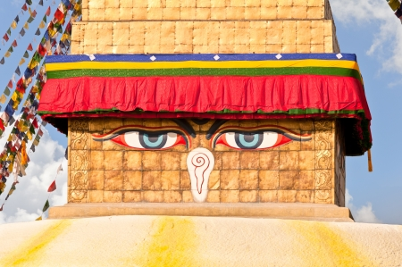 shree: Buddha eyes on Shree Boudhanath Kathmandu Nepal Stock Photo