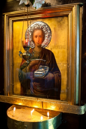 good shepherd: Holy apostle with picture frame in a church