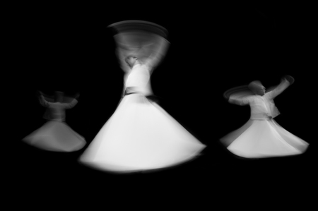 whirling: Whirling Turkish mevlevi dervis in worship show in Galata Istanbul Turkey