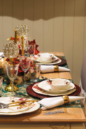 Centrepiece: Christmas new year dinner table decoration  Stock Photo
