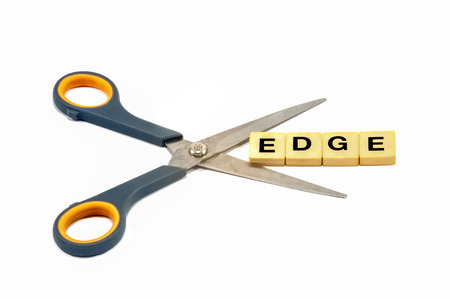 edge: Isolated on white abstract cutting Edge term Stock Photo