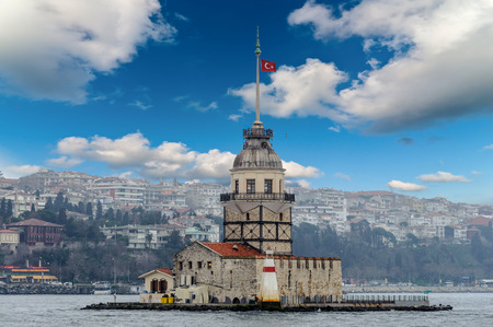 Cloudy city scape maidens tower Turkish kiz Kulesi sea shore view