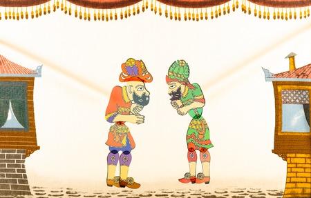 shadow puppet: Traditional famous old Ramadan Puppet show Turkish Hacivat Karagoz game scene Editorial