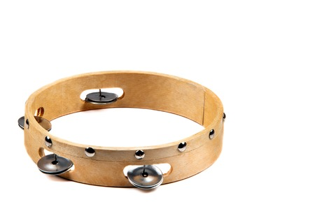 Isolated image of wooden tambourine on white background  Imagens