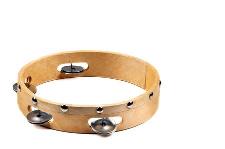 tambourine: Isolated image of wooden tambourine on white background  Stock Photo