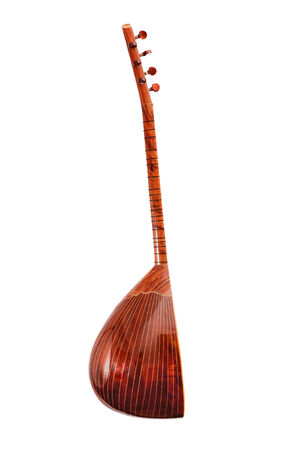 saz: Saz Traditional Turkish Music Instrument Isolated on a White Background
