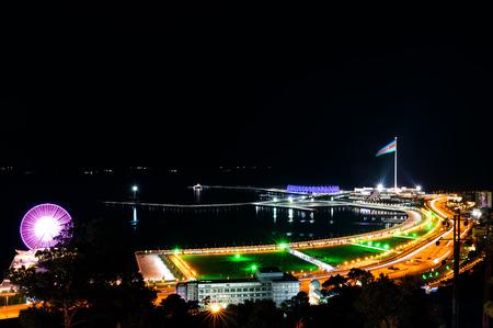 Baku panorama with highland park night view photo