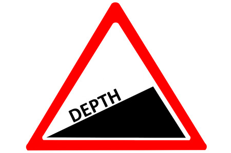 increasing: Depth increasing warning road sign isolated on pure white background