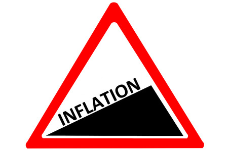 increasing: Inflation increasing warning road sign isolated on pure white background