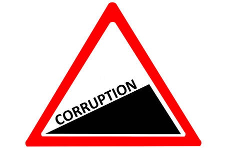 the corruption: Corruption increasing warning road sign isolated on pure white background