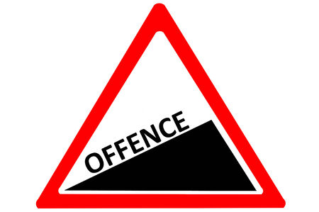 offence: Offence crime increase warn roadsign isolated on pure white background