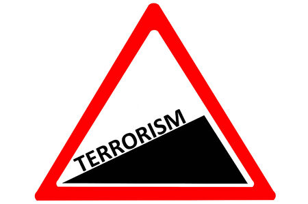terrorism: Terrorism increasing warning road sign isolated on white background Stock Photo