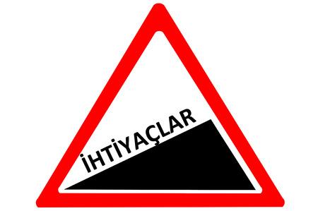 increasing: Price Turkish fiyatlar increasing warning road sign isolated on white background