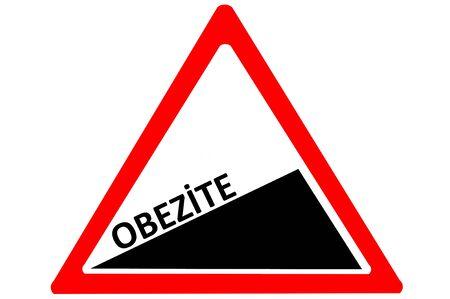 increasing: Obesity Turkish obezite increasing warning road sign isolated on white background