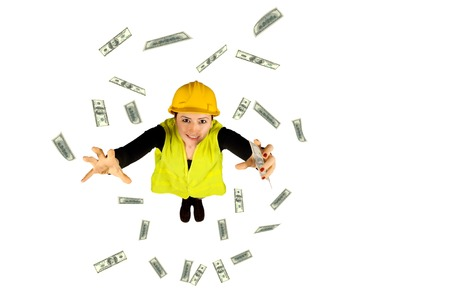 blue collar: blue collar worker wagesmoney flying dollar isolated on white background