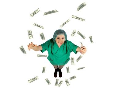 doctor money: surgeon wages jackpot money flying dollar isolated on white background