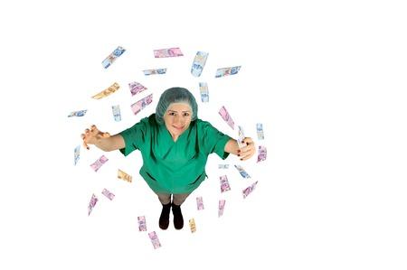 bringing: surgeon wages jackpot money flying Turkish Lira isolated on white background