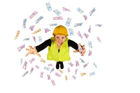 dinero volando: salarios de los trabajadores de cuello azul dinero volando lira turca aisladas sobre fondo blanco