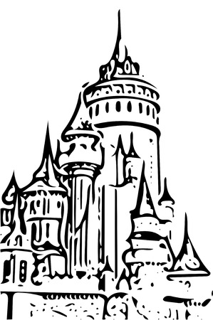 amusement park black and white: fairy tale castle drwaing on white and black