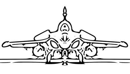 jetplane: military fighter jet plane at taxi sketch illustrator on white