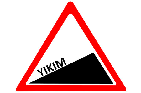 uphill: Destruction Turkish yikim increasing warning road sign isolated on white background Stock Photo