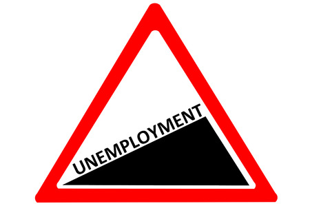 unemployment rate: Unemployment increasing warning road sign isolated on white background Stock Photo