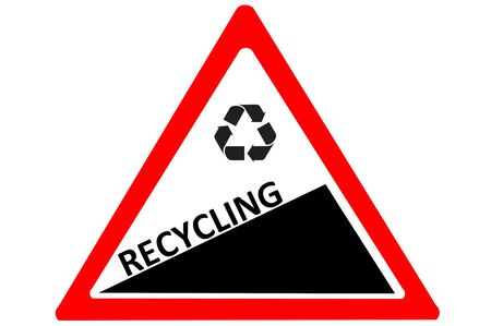 space rubbish: E-Recycling increasing warning road sign isolated on white background Stock Photo