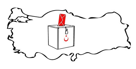 opinion: Turkish election Turkey map envelope vector sketch on white background