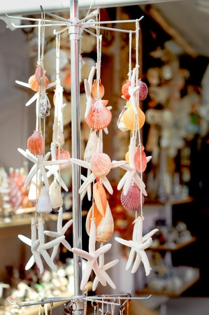 clam beds: collection of various colorful seashells and starfish tied each other by string ornament