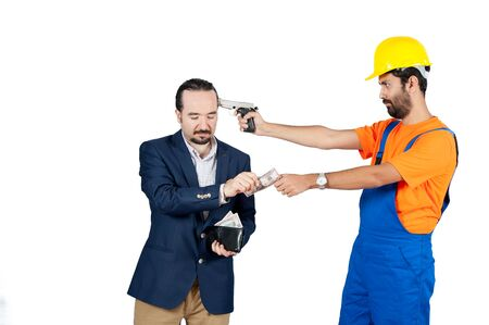 blue collar: blue collar laborer threating businessman for getting his money for services isolated on the white background