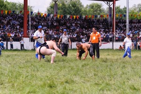 edirne: EDIRNE, TURKEY - JULY 26, 2010: Wrestlers Turkish pehlivan and Japanese sumo wrestler at the competition in Kirkpinar. Kirkpinar is a Turkish oil-wrestling (Turkish: yagli gures) tournament.