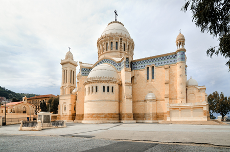algiers: ALGIERS, ALGERIA - APRIL 8, 2016: Cathedral of Notre dame dAfrique, Algiers Algeria. The basilica was inaugurated in 1872, after fourteen years of construction. Editorial