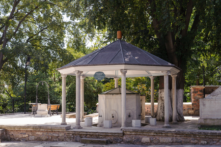 whirling: ISTANBUL, TURKEY - SEP 10, 2016: Fountain of Adile sultan at Galata Mawlawi House Museum (Galata Mevlevihanesi Muzesi). Whirling Dervishes