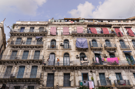 algiers: ALGIERS, ALGERIA - SEP 24, 2016:French colonial buildings in Algiers Algeria.Buildings are being renovated by Algerian government time by time