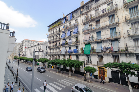 algerian: ALGIERS, ALGERIA - SEP 24, 2016:French colonial buildings in Algiers Algeria.Buildings are being renovated by Algerian government time by time
