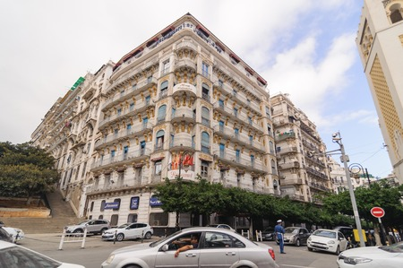 ALGIERS, ALGERIA - SEP 24, 2016:French colonial buildings in Algiers Algeria.Buildings are being renovated by Algerian government time by time