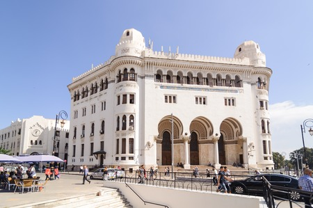 ALGIERS, ALGERIA - SEP 24, 2016: La Grande Poste Algiers is a building of neo-Moorish style Arabisance built in Algiers in 1910 by Henri-Louis said Jules Voinot architects and Marius Toudoire1 Algiers