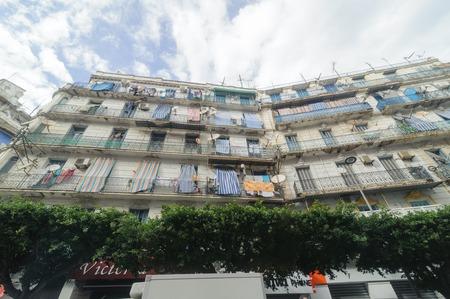 algerian: ALGIERS, ALGERIA - SEP 30, 2016:French colonial buildings in Algiers Algeria.Buildings are being renovated by Algerian government.
