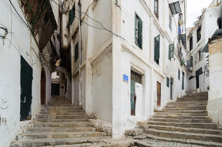 ALGIERS, ALGERIA - SEP 30, 2016: Stairways at the ancient part of old city of Algeria, called casbah(kasaba).Old city is 122 metres (400 ft) above the sea.The casbah is Ottoman part of Algiers