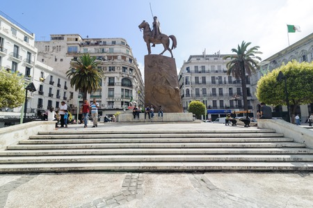 algiers: ALGIERS, ALGERIA - FEB 6, 2016: Monument of Emir Abdelkader or Abdelkader El Djezairi was an Algerian Sharif religious and military leader who led a struggle against French colonial invasion in mid-19th century.