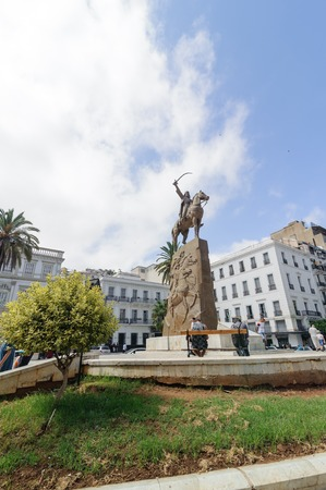 military invasion: ALGIERS, ALGERIA - SEP 24, 2016: Monument Emir Abdelkader or Abdelkader El Djezairi was Algerian Sharif religious and military leader who led struggle against French colonial invasion in mid 19th cent Editorial