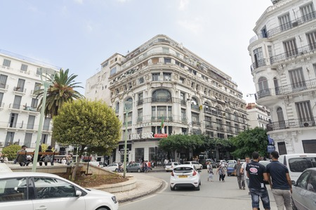 algiers: ALGIERS, ALGERIA - SEP 24, 2016: French colonial side of the city of Algiers Algeria.Modern city has many old french type buildings.