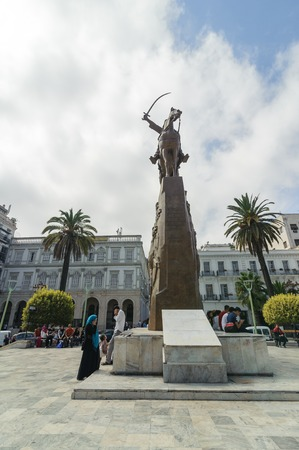 estampilla: ALGIERS, ALGERIA - SEP 24, 2016: Monument Emir Abdelkader or Abdelkader El Djezairi was Algerian Sharif religious and military leader who led struggle against French colonial invasion in mid 19th cent Editorial