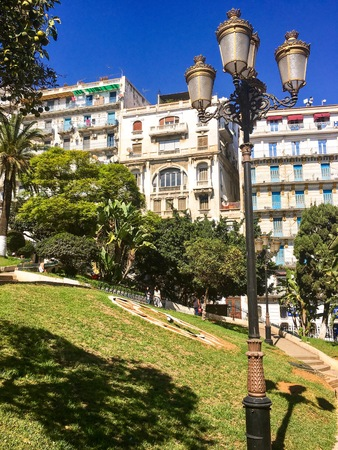 ALGIERS, ALGERIA - OCT 1, 2018: French colonial side of the city of Algiers Algeria.Modern city has many old French type buildings. Editorial