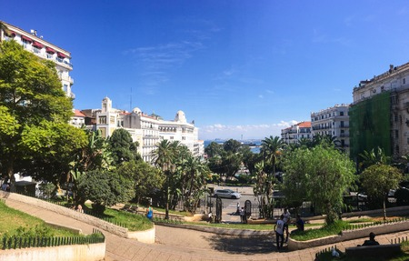 algiers: ALGIERS, ALGERIA - OCT 1, 2016: French colonial side of the city of Algiers Algeria.Modern city has many old french type buildings.