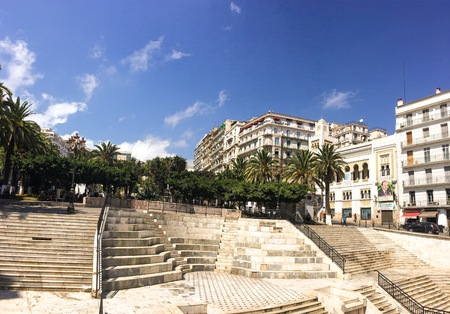 ALGIERS, ALGERIA - OCT 1, 2016: French colonial side of the city of Algiers Algeria.Modern city has many old french type buildings.