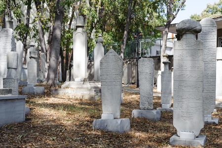 ISTANBUL, TURKEY - SEP 12, 2016: Gravestones in Galata Mevlevihane Museum. Galata Mevlevihane Museum in istanbul city. Mevlevihane located in the Beyoglu district of Istanbul province of Turkey. Editorial