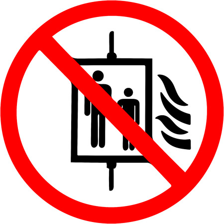 Do not use elevator in case of fire, earthquake Prohibition sign. Фото со стока